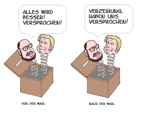 Cartoon: Wahlversprechen (medium) by Retlaw tagged schulz,und,merkel