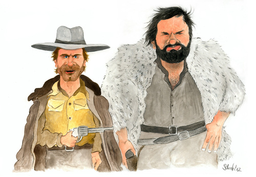 Cartoon: Terence Hill und Bud Spencer (medium) by Mario Schuster tagged karikatur,cartoon,mario,schuster,terence,hill,bud,spencer,italo,western