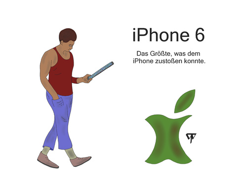 Cartoon: iPhone 6 (medium) by thalasso tagged iphone,smartphone,apple,size,mobile,ads