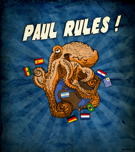 Cartoon: Paul Rules ! (medium) by Thomas Berthelon tagged berthelon,thomas,worldcup,world,cup,2010,mondial,football,paul,octopus