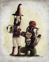 Cartoon: Halloween Family (small) by Thomas Berthelon tagged halloween,watercolor,watercolour,aquarelle