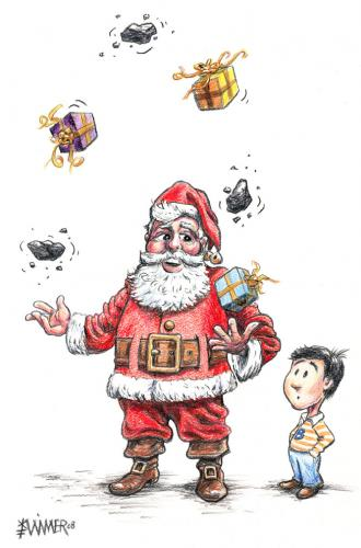 Cartoon: Been Naughty or Nice? (medium) by karlwimer tagged christmas,xmas,santa,gifts,coal,naughty,nice
