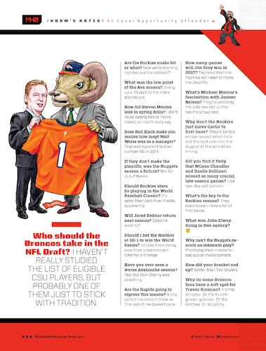 Cartoon: Broncos Draft (medium) by karlwimer tagged nfl,football,denver,broncos,csu,draft,goodell,rams,sports