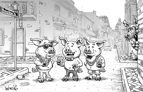 Cartoon: Caption Contest Mardi Gras Pigs (medium) by karlwimer tagged three,little,pigs,mardi,gras,new,orleans,party,bourbon,street,fun