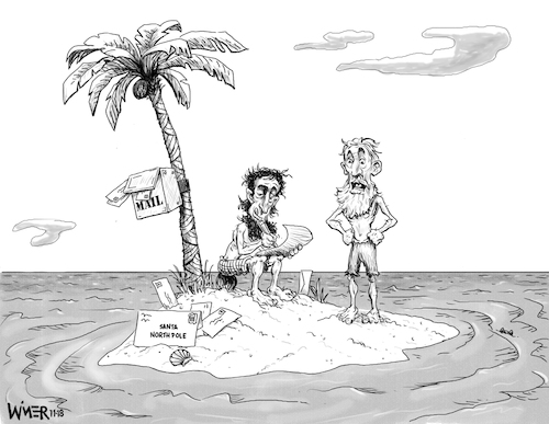 Cartoon: Create a Caption Wishlist (medium) by karlwimer tagged christmas,wishlist,desert,island,castaways,holidays