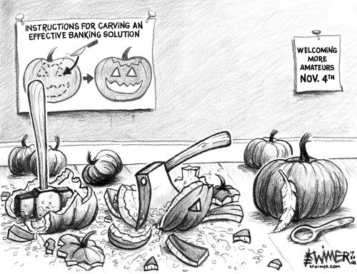 Cartoon: Economy Carving (medium) by karlwimer tagged us,economy,banking,crisis,pumpkin,carving,global,amateurs