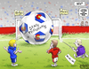 Cartoon: Budget Ball (small) by karlwimer tagged soccer,goal,worldcup,democrats,republicans,budget,taxes,colorado,economy,government