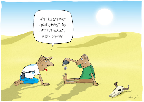 Cartoon: Wasser in den Beinen (medium) by droigks tagged wasser,durst,wüste,hitze,heiss,sommer,glühend,dehydratation,austrocknen,verdursten,wassermangel,klima,wetter,wasser,durst,wüste,hitze,heiss,sommer,glühend,dehydratation,austrocknen,verdursten,wassermangel,klima,wetter