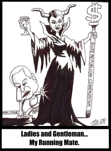 Cartoon: Running Mate For Life (medium) by Tzod Earf tagged mccain,cane,sceptor,dollar,sign,cartoon,witch,troll