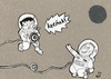 Cartoon: vorletzte geräusche -kreäck- (small) by XombieLarry tagged astronauten,dart,weltall,astronauts,space,idiots
