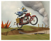 Cartoon: Crossing No Mans Land (small) by birdbee tagged dog,war,motorcycle,messenger,lowpoly,3d