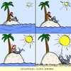 Cartoon: evolution vs. global warming (small) by leopold maurer tagged evolution,global,warming,climate,change,schiffbruch,einsame,insel