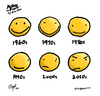 Cartoon: Smilies Across the Decades (small) by ericHews tagged smile,smiley,face,smilies,decades,happy,angry