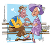 Cartoon: love seniors (small) by serralheiro tagged love,seniors,man,woman,friends,married,life,time,heart,daisy,hat