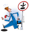Cartoon: warning (small) by serralheiro tagged keep,walk,warning,hole,business,one,way