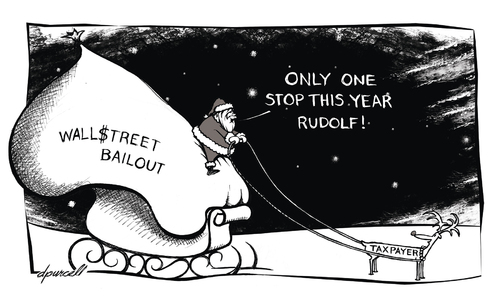 Cartoon: Wall Street Santa (medium) by toonerman tagged santa,clause,christmas,holiday,december,winter,cold,sleigh,reindeer,wall,street,bankers,banks,greed,money,bailout
