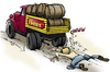 Cartoon: Beer Truck (small) by toonerman tagged truck,beer,barrels,accident,hit,run,pedestrian,hurt,over,smashed,drunk,haul,load