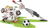 Cartoon: Bunch Ball (small) by toonerman tagged football,soccer,youth,cartoon,children,kids,ball,sports,league,outdoor,kick,referee,red,card,game,match,competition