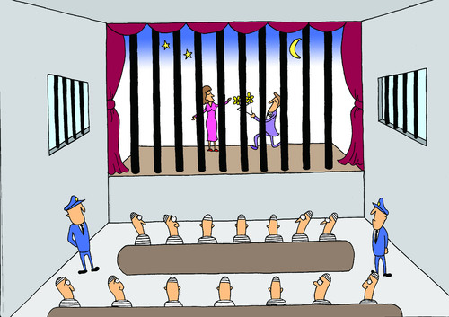 Cartoon: the theater in prison (medium) by joruju piroshiki tagged prison,theater