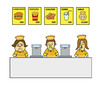 Cartoon: PRICE (small) by joruju piroshiki tagged smile,price,first,food,shop,clerk,salesperson,attitude