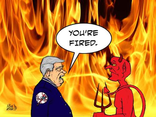 Cartoon: Changing of the Guard (medium) by Mike Spicer tagged mikespicer,cartooninst,caricaturist,cartoon,hell,george,steinbrenner,satan