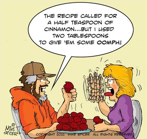 Cartoon: Cinnamon Muffins (medium) by Mike Spicer tagged baking,muffins,cinnamon,muffin,recipes,recipe,cartoons