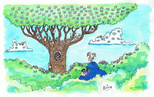 Cartoon: Birds Watching (medium) by Kerina Strevens tagged twitching,nature,birds,trees,eyes,watching,bird