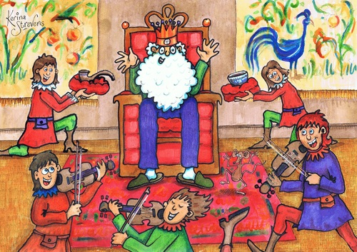 Cartoon: Old King Cole (medium) by Kerina Strevens tagged king,pipe,fiddlers,bowl,royal,court,nursery,rhyme