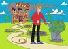 Cartoon: On Fire For Gardening (small) by Kerina Strevens tagged gardening,gardener,water,flowers,house,burn,fire