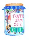 Cartoon: Traffic Jam (small) by Kerina Strevens tagged traffic,cars,lorries,vehicles,jam,jar,space,pollution
