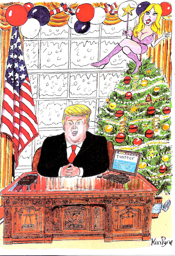 Cartoon: Trump at Christmas (medium) by Ken tagged politics,politics