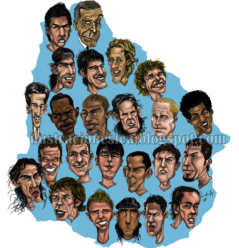 Cartoon: URUGUAYAN SOCCER TEAM (medium) by lea tagged urugayan,soccer,team