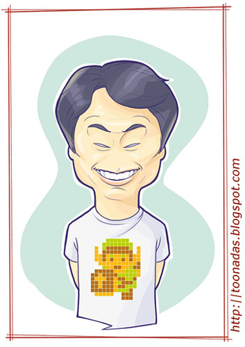 Cartoon: Shigeru Miyamoto (medium) by Freelah tagged the,kong,donkey,bros,mario,nintendo,legend,of,zelda,star,fox,zero