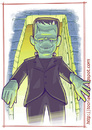 Cartoon: Boris Karloff  - as the Monster (small) by Freelah tagged karloff,frankenstein,monster,horror,movie