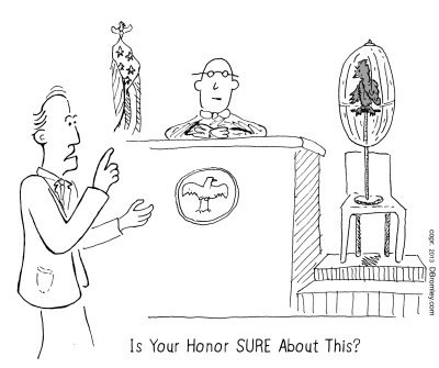 Cartoon: Is Your Honor Sure About This? (medium) by David_Bromley tagged court,lawyer,judge,parrot,jury,law,witness,stand