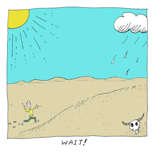 Cartoon: Wait! (medium) by David_Bromley tagged desert,addams,running,sun,black,and,white