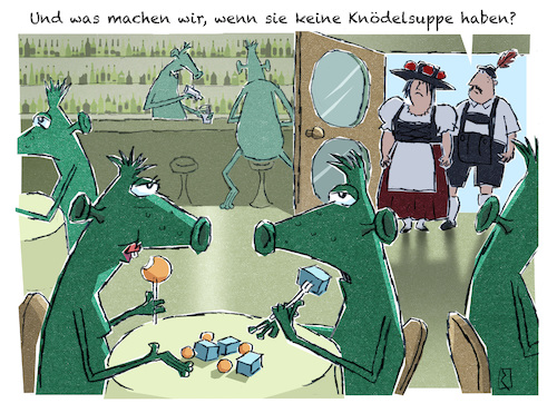 Cartoon: Aliens (medium) by Jan Rieckhoff tagged fremder,alien,heimat,herkunft,verstaendigung,voelkerverstaendigung,kultur,auslaender,auswärtig,andersartig,bayern,cartoon,witz,comic,karikatur,jan,rieckhoff,fremder,alien,heimat,herkunft,verstaendigung,voelkerverstaendigung,kultur,auslaender,auswärtig,andersartig,bayern,cartoon,witz,comic,karikatur,jan,rieckhoff