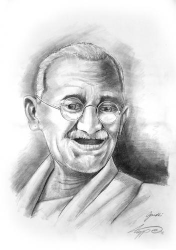 Cartoon: gandhi (medium) by hype tagged bleistift,drawing,pencil,ghandi