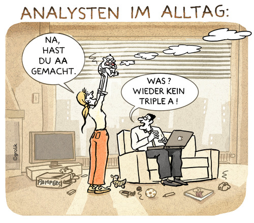 Cartoon: AA-Rating (medium) by markus-grolik tagged bankenwahnsinn,banken,bank,geld,kreditwuerdigkeit,kredit,herabstufen,index,jones,dow,dax,cartoon,grolik,triple,aa,analysten,analyst,analyse,boerse,aktien,aktie,rating