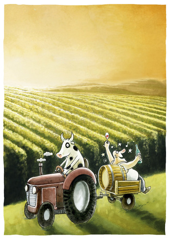 Cartoon: ..endlich Feierabend (medium) by markus-grolik tagged landwirt,kuh,reise,wein,landwirtschaft,feierabend,happy,hour,trinken,gals,burgunder,grolik,cartoon,traktor,natur,sonne,sonnenuntergang,gleichklang