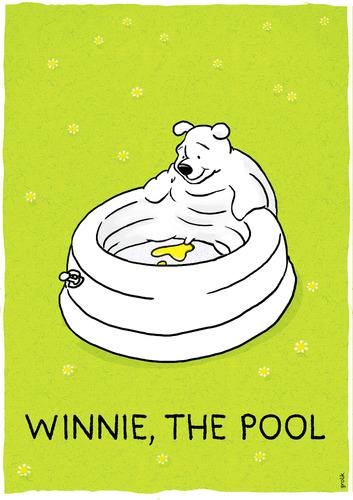 Cartoon: Winnie the pool (medium) by markus-grolik tagged merchandising,pool,products,for,kids,children,classical,garden,gardening,summer,meadow,water,bathing