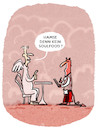 Cartoon: ... (small) by markus-grolik tagged soulfood,framing,wording,essen,konsum,hölle,religion,genuss,engel,himmel,paradies,gastro