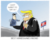 Cartoon: Nordkoreabesuch (small) by markus-grolik tagged nordkorea,donald,trump,kim,jong,un,usa,china,handshake,historisch