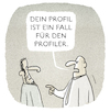 Cartoon: .profilneurotischer Aktionismus. (small) by markus-grolik tagged profil,profiler,polizei,vorurteile,nafri,rassismus,intoleranz,fake,news
