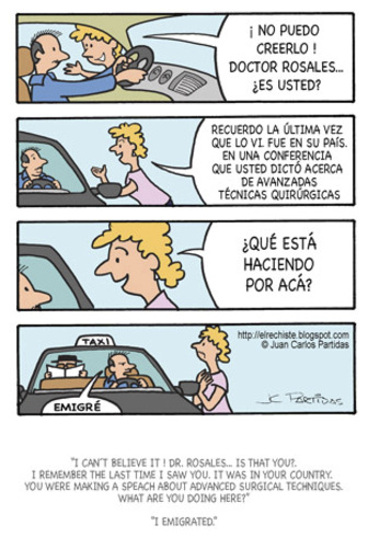 Cartoon: Suprise (medium) by Juan Carlos Partidas tagged immigration,immigrant,doctor,taxi,injustice,discrimination
