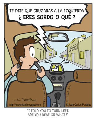 Cartoon: Upset GPS (medium) by Juan Carlos Partidas tagged gps,deaf,upset,instructions,drive,driving,travel,address