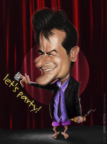 Cartoon: Charlie Sheen (medium) by jaime ortega tagged charlie,sheen
