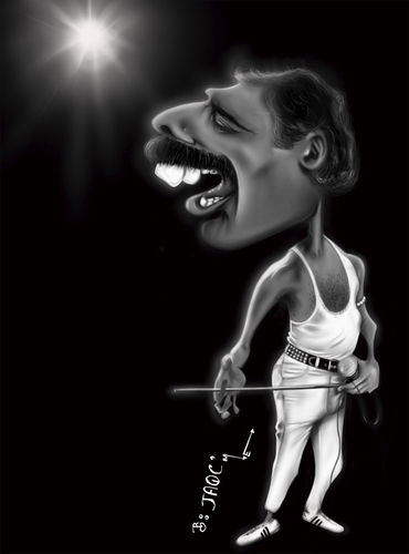 Cartoon: Freddie Mercury (medium) by jaime ortega tagged freddie,mercury,queen