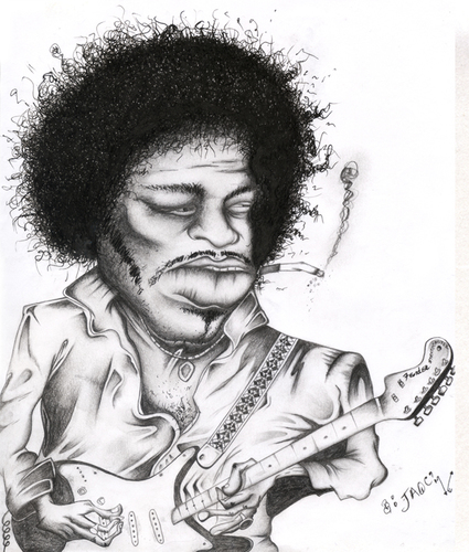 Cartoon: Jimi Hendrix (medium) by jaime ortega tagged guitarrista,jimi,hendrix