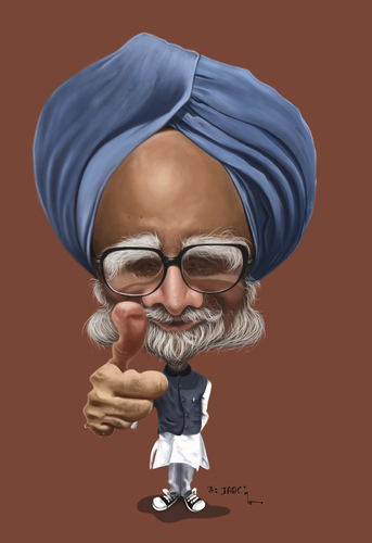Cartoon: Manmohan Singh (medium) by jaime ortega tagged manmohan,singh